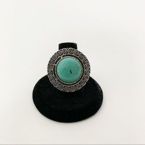 Turquoise Silver Boho Fashion Ring #3